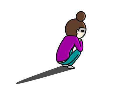 女性がしゃがんでいるイラスト